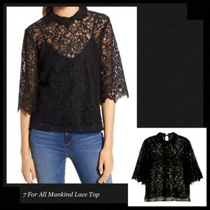 7 FOR ALL MANKIND Sheer Romance Black Lace Top
